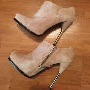 Zara Nude Faux Suede Ankle Boots w/ Stiletto Heels